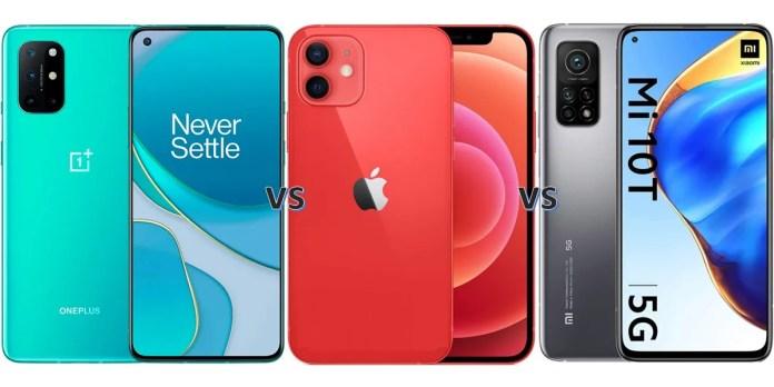 oneplus 8t vs xiaomi mi 10t vs iphone 12