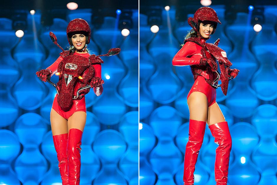 Miss São Paulo, Fernanda Leme, traz em seu traje a alusão à capital como cidade que nunca para