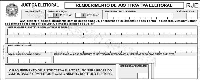 Formulário para Justificativa Eleitoral