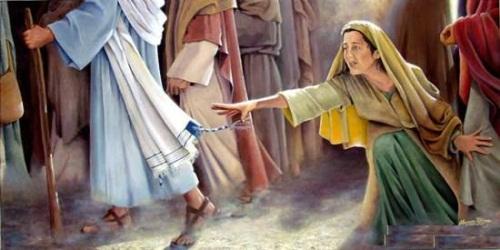 Resultado de imagen para mujer que toco el manto de jesus
