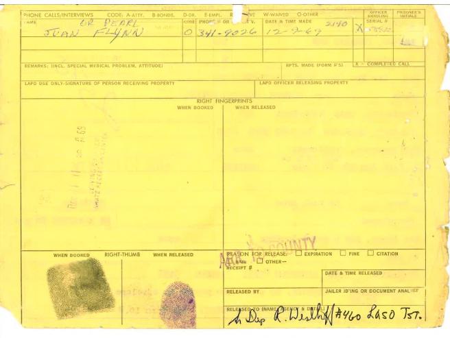 Segunda página de la ficha policial de Charles Manson.
