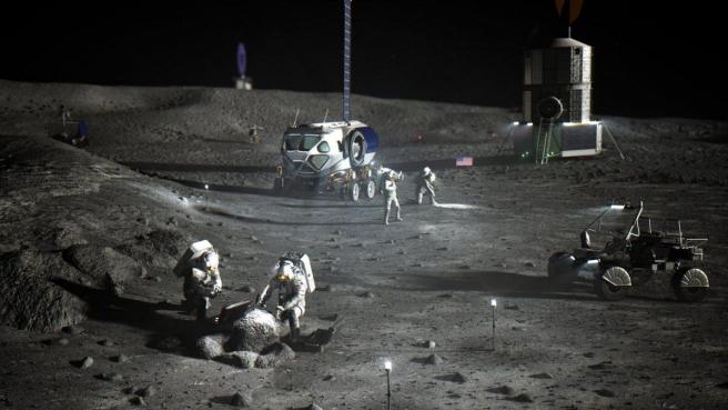 Ilustración de los astronautas de la NASA en el Polo Sur lunar.