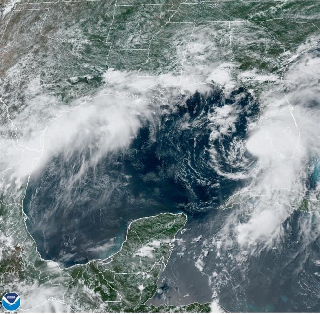 La tormenta tropical Elsa, a las 14:36 hora local (18:36 GMT) del 6 de julio de 2021, a punto de convertirse en huracán mientras avanza en dirección a la costa de Florida.