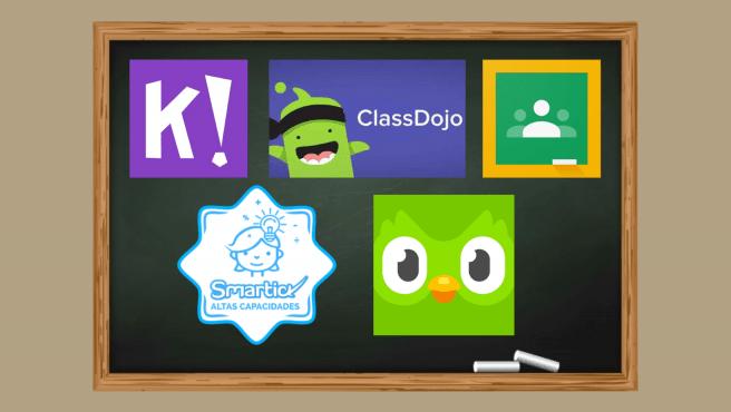 Estos son los logos de las aplicaciones educativas que se han mencionado.