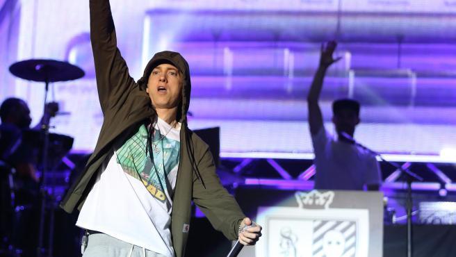 Eminem durante un concierto en Chicago.