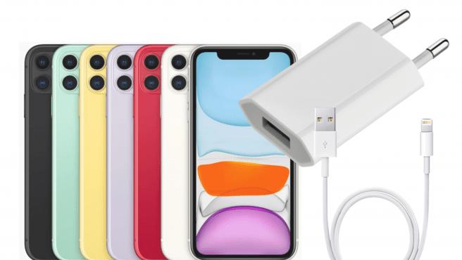El iPhone 11 de 2019 incluye en su caja el mismo adaptador de corriente USB de 5W que incluían ya algunos terminales iPhone 3GS en 2009.