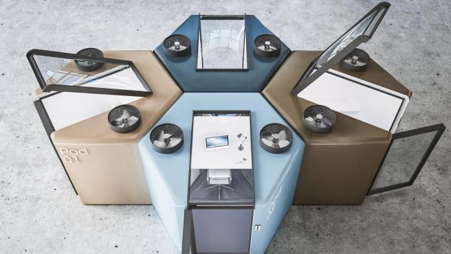 Las cápsulas se han diseñado en un formato hexagonal para que puedan disponerse en forma de colmena y acomodar diferentes tamaños de oficina