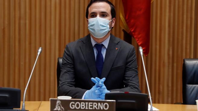El ministro de Consumo, Alberto Garzón, en comisión en el Congreso.