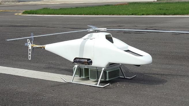 El SITEP H01 es un dron helicóptero monorotor de cerca de 3 metros de longitud.