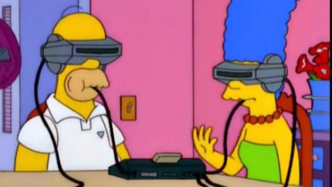 En el capítulo 'Bart al futuro' del año 2000 Marge y Homer comen comida VR.