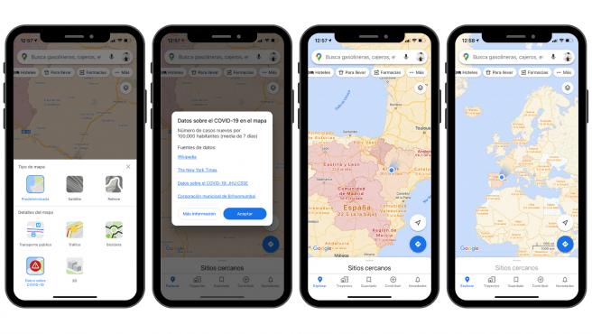 La app Google Maps ahora tiene una capa con información sobre la COVID-19.