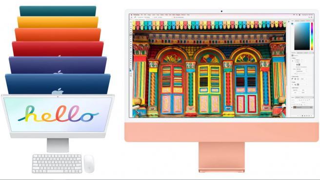 El nuevo iMac está disponible en siete colores: verde, amarillo, naranja, rosa, violeta, azul y plateado.