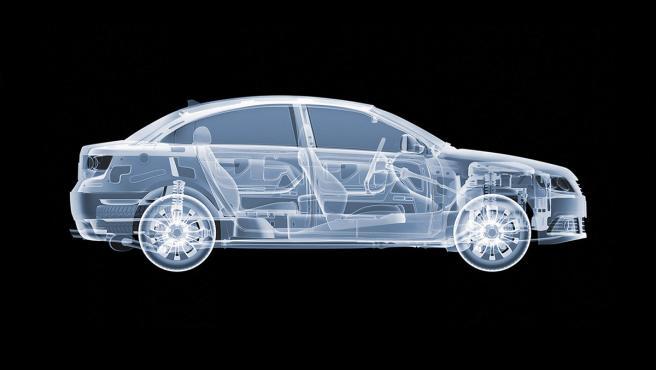 Imagen hecha un artista 3D de un coche visto con rayos X.