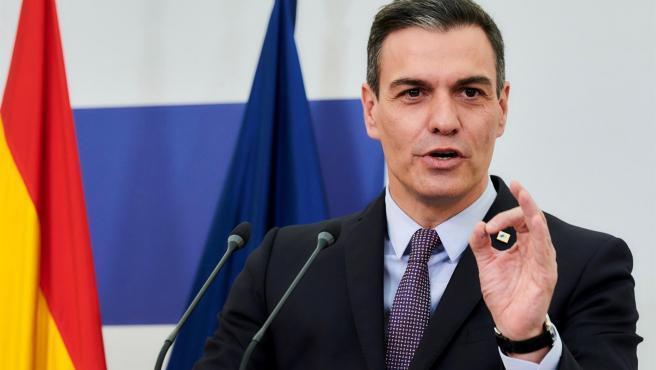 El presidente del Gobierno, Pedro Sánchez, al término del Consejo Europeo del pasado 25 de mayo.
