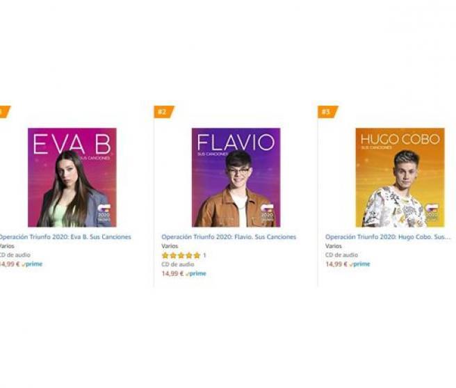 'Top 3' de ventas en CDs en Amazon.