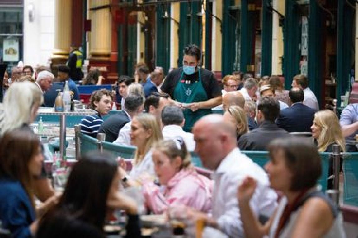 A terrace at Leadenhall Market in London on July 27.