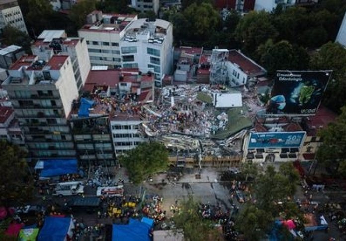 Aerial view of the damage caused by the earthquake that struck Mexico City in September 2017.