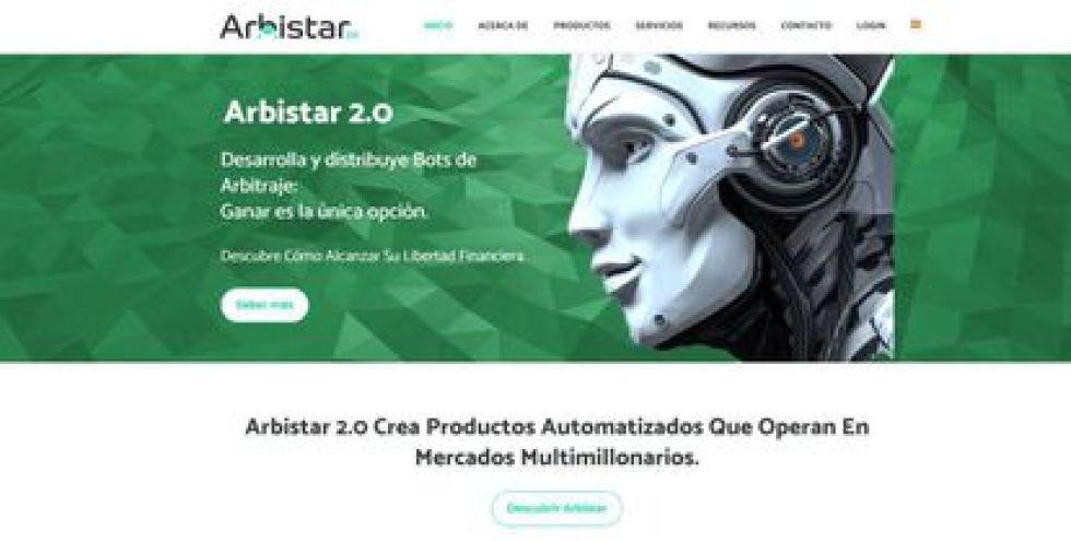 Screenshot of the Arbistar 2.0 website.