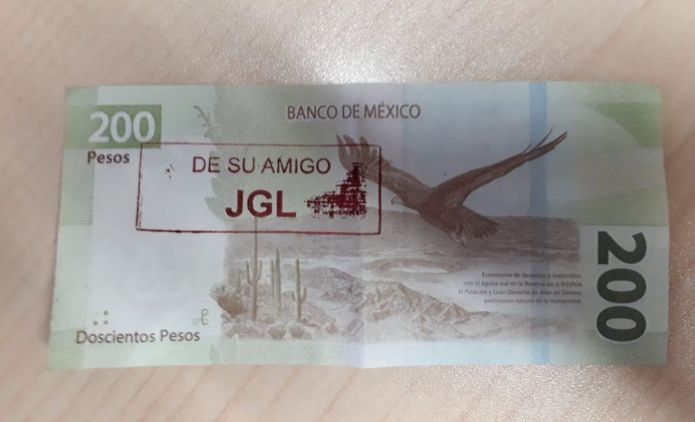 One of the 200 peso bills supposedly marked by the Sinaloa cartel.