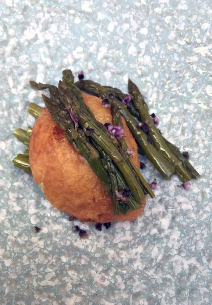 Sautéed green asparagus with fried egg fritter, April 3.