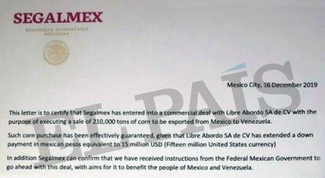 La carta atribuida a Segalmex, describiendo los tratos con Venezuela, de diciembre de 2019.