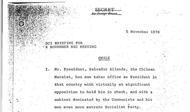 Introducción de uno de los documentos desclasificados del Consejo Nacional de Seguridad de EE UU con un perfil del expresidente chileno Salvador Allende.