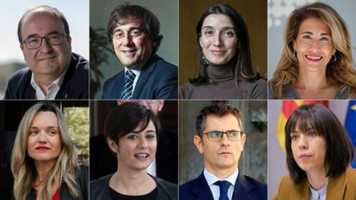 Miquel Iceta, José Manuel Albares, Pilar Llop, Raquel Sánchez, Pilar Alegría, Isabel Rodríguez, Felix Bolaños and Diana Morant.