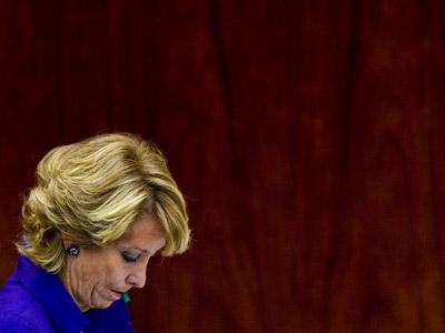 La presidenta de Madrid y líder regional del PP, durante el debate sobre el estado de la región, el pasado 15 de septiembre.Ángel Navarrete