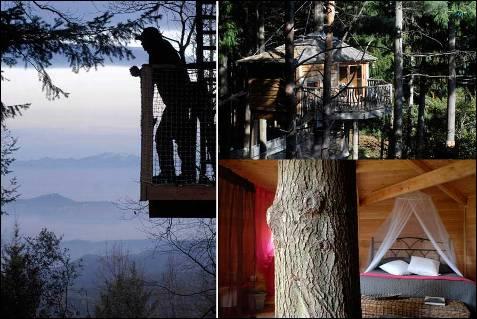 En el hotel Cabanes Als Arbres, en el corazón de la sierra del Montseny, es posible cumplir uno de los sueños infantiles más recurrentes, el de dormir en una cabaña en la copa de un árbol.