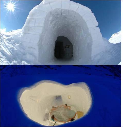 El Iglú-Hotel Grandvalira, en el dominio esquiable más grande de los Pirineos, ofrece dos originales iglús con jacuzzi que tienen el techo abierto, lo que permite observar las estrellas mientras se disfruta de un hidromasaje a 36º.