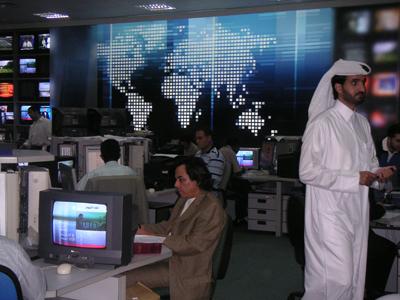 La redacción de la cadena en Doha, la capital del pequeño emirato de Qatar en el Golfo Pérsico. - Carlos Enrique Bayo