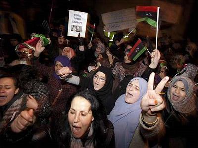 Protestas en la embajada de Libia en Londres. AFP