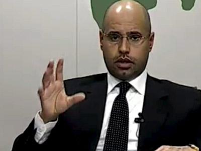 Saif al Islam Gadafi, durante su intervención del pasado domingo en televisión.AFP