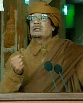 Gadafi se dirige a la nación.
