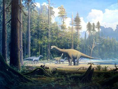 Ilustración de dos 'Europasaurus holgeri' junto a varios iguanodones en la Baja Sajonia. - Gerhard Boeggemann