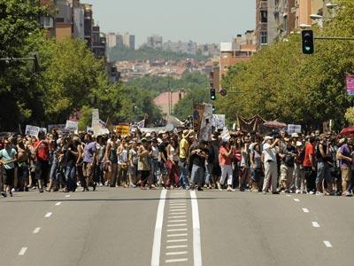 Una de las columnas de manifestantes que el 19-J confluyeron sobre Madrid.