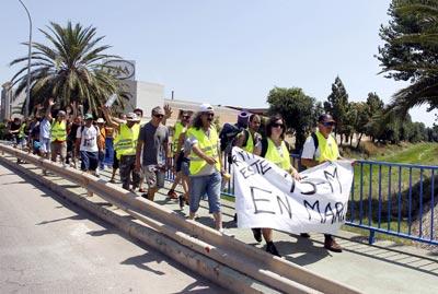 Indignados de la marcha de Valencia, a su salida el pasado 11 de junio. -