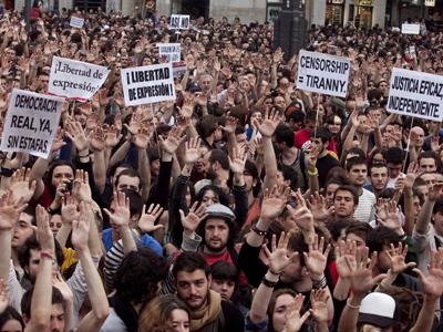 Protesta en Sol el pasado 17 de mayo. GABRIEL PECOT