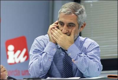El portavoz de IU en el Congreso, Gaspar Llamazares, el pasado 21 de junio, durante la reunión extraordinaria de la Presidencia Federal, la que discutió cómo actuar contra IU Extremadura.