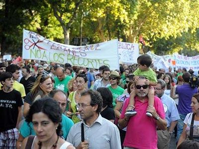 Manifestación contra los recortes en Educación, hoy.-