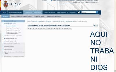 Captura de un fallo de la web del Senado.