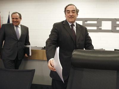 Jesús Terciado, presidente de la Cepyme, y Juan Rosell, presidente de la CEOE. EFE