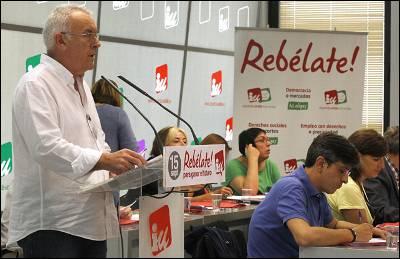 Cayo Lara, este sábado durante la presentación de su informe ante el Consejo Político Federal de Izquierda Unida.-
