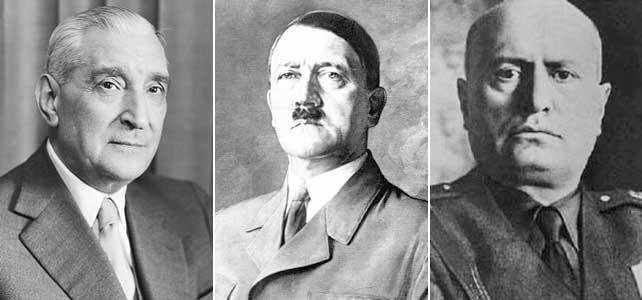 De izquierda a derecha: António Oliveira Salazar, Adolf Hitler y Benito Mussolini.