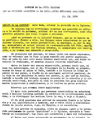 Documento original de la reunión entre el Episcopado argentino y la Junta Militar.