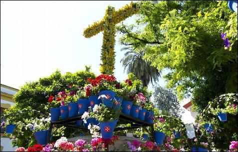 Cruz montada por la Hermandad de la Sangre, una de las más de 40 que están instaladas en las plazas y callejuelas de Córdoba que desprenden una luz, color y olor intenso y que este año han decidido rendir un homenaje a los patios. EFE/Rafa Alcaide