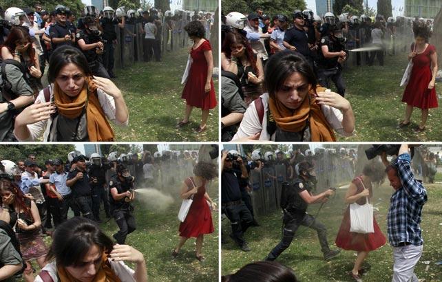 Secuencia en la que un policía dispara gases lacrimógenos contra una mujer en la Plaza Taksim. REUTERS