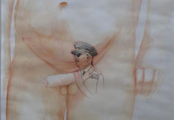 'Arriba Espaaaaaña', acuarela y bolígrafo sobre papel de Juan Pérez Agirregoikoa.