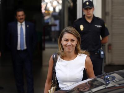 María Dolores de Cospedal saliendo de la Audiencia el pasado 14 de agosto/Reuters
