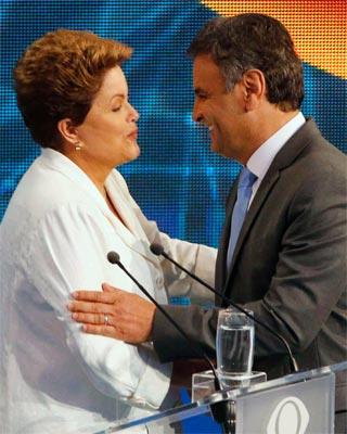 Dilma Rousseff y Aécio Neves tras un debate televisado.